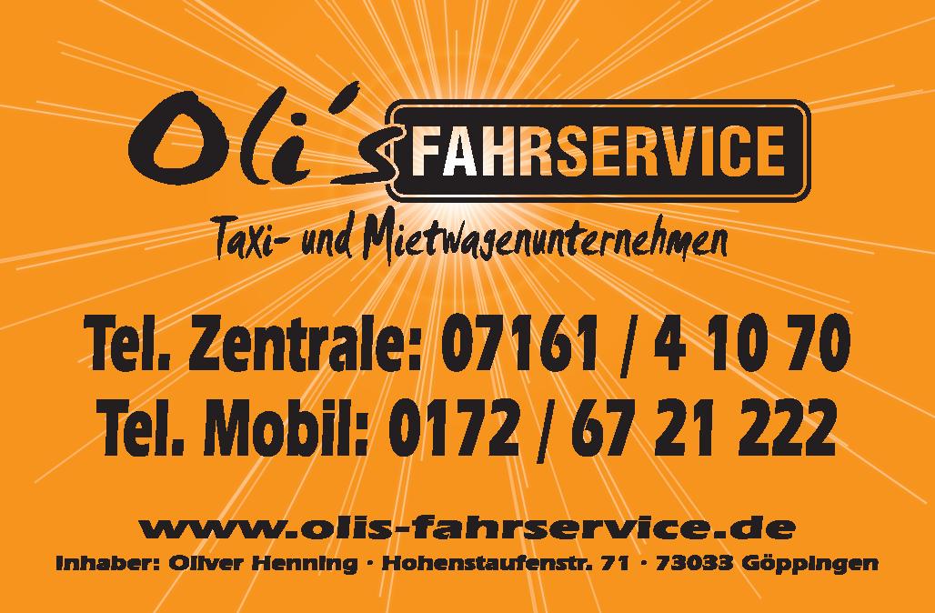Oli's Fahrservice, Taxi- und Mietwagenunternehmen - Oliver Henning